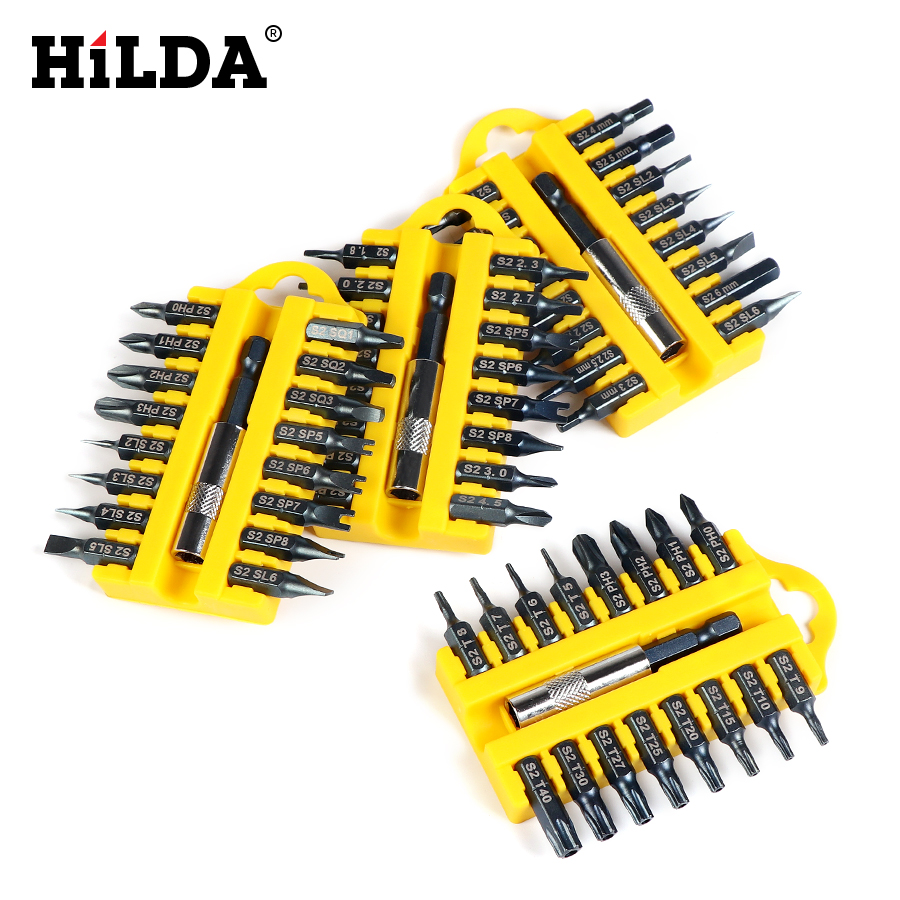 HILDA Security Tamper Proof Torx Hex Star Bit Set Magnetic Holder Screwdriver Bits Cordless Drill Screwdrivers Bits 17pcs/set