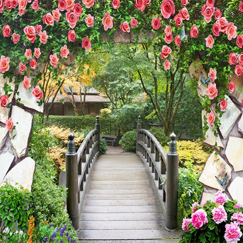 3D Wall Mural Garden Flowers Wall Wooden Bridge Landscape Photo