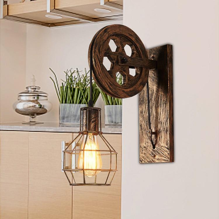 Loft retro lamp creative lifting pulley wall light dining ...