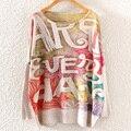 (YY-495) зима Новый Горячие Английские буквы 3D цифровой печати шею пуловер свитер оптовых женщин рукавами Бесплатная доставка