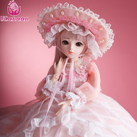 UCanaan BJD Dolls SD Doll With Outfit Elegant Dress Wigs Shose Hat Makeup Beautiful Dream Toys for Girls KD Dolls 60CM