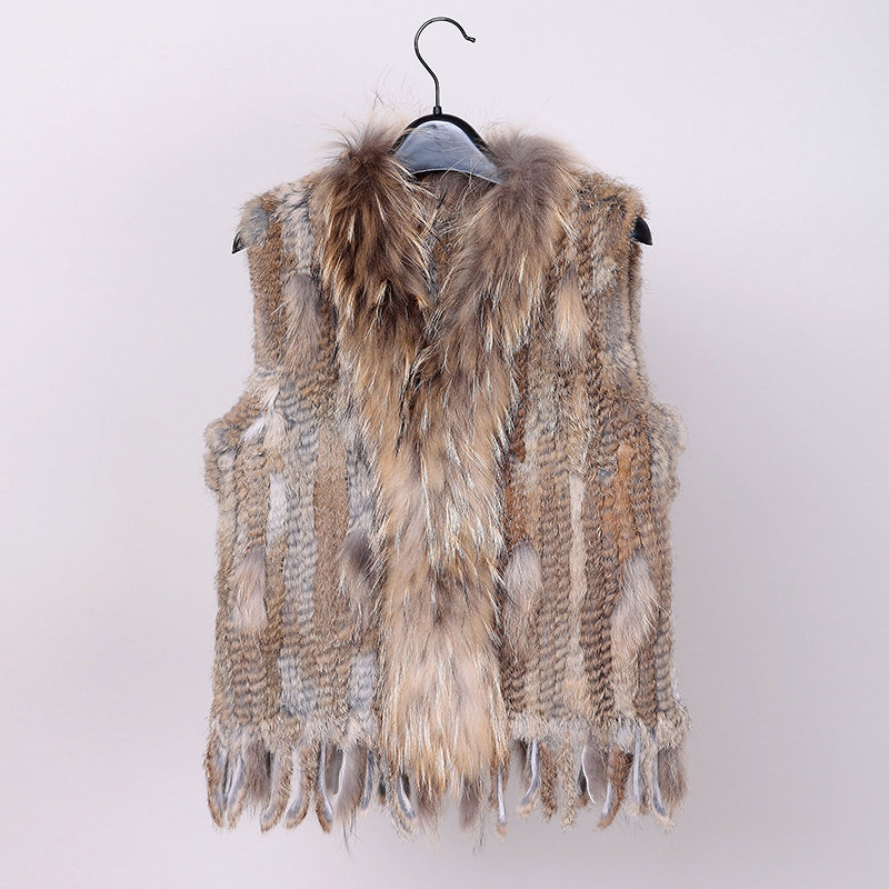 VR006 Hot wholesale rabbit Fur vest coat Women Knitted Natural raccoon fur collar waistcoat jacket plus