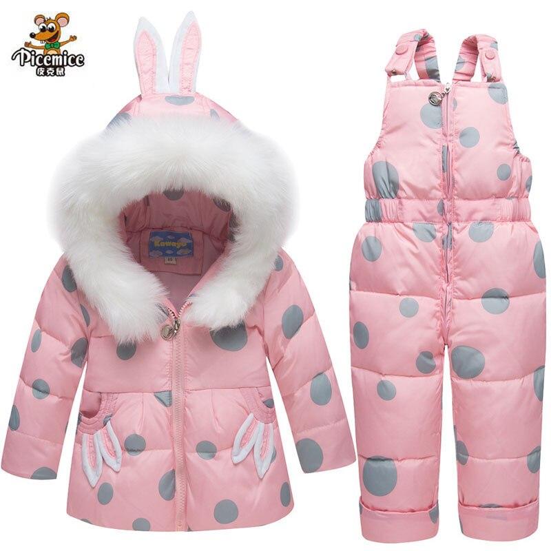 90% Duck Down Pants Jacket for Baby Girls Hooded Winter Warm Children Snowsuit Clothing Set kids Boys Coat Rabbit Ear Overcoat