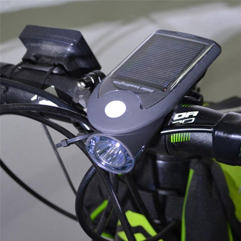 Solar Energy Rechargeable USB Bike Lights Flashing Front Head Flashlight Cycling Bicycle LED Warning <font><b>Lamp</b></font> Sport Lighting New
