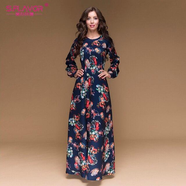 S. вкус Для женщин печати длинное платье Элегантное Длинное Фонарь рукавом o-образным вырезом Осень Vestidos Для женщин популярные Для женщин Повседневная длинное платье