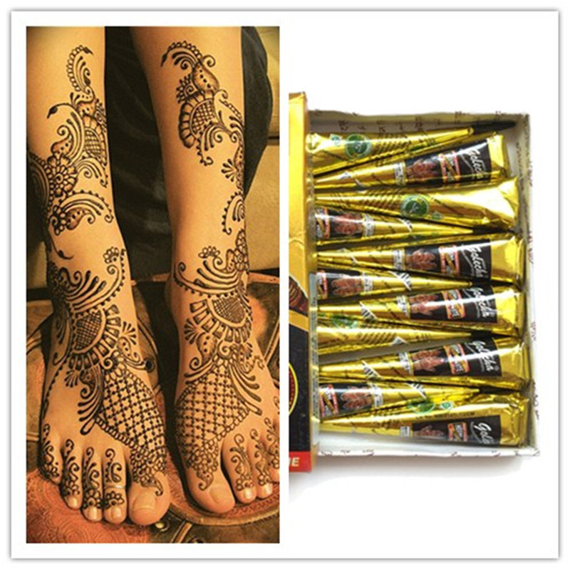 Indian Wedding Henna Tattoos: 1pc Black Women Man Fashion Mehndi Henna Cone Indian