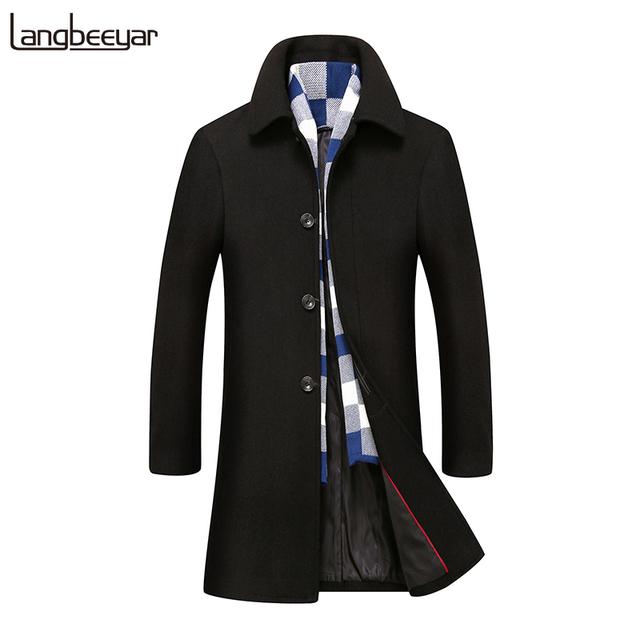 Outono Inverno Nova Marca de Moda-Roupas Jaqueta Dos Homens Casaco de Lã Slim Fit Peacoat Wool & Blends Alto-graduação inverno Homens Longo Casaco