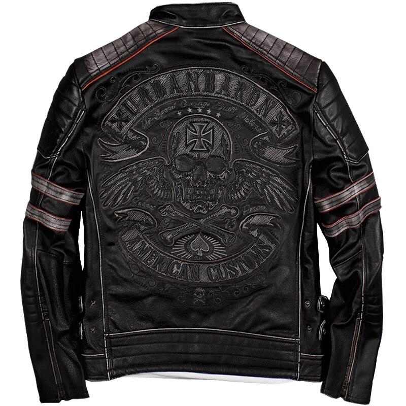Livre shipping.2019 vendas Nova Marca plus size preto do crânio dos homens Jaquetas de couro jaqueta De motoqueiro de Couro genuíno dos homens. casaco motorbiker