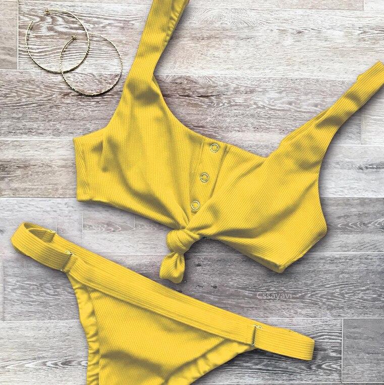 Sexy Knotted Scoop Ribbed Women Bikini Set 2017 Button Bathing Suit Tankini Push Up swimwear Maillot De Bain Swimsuit girls 2