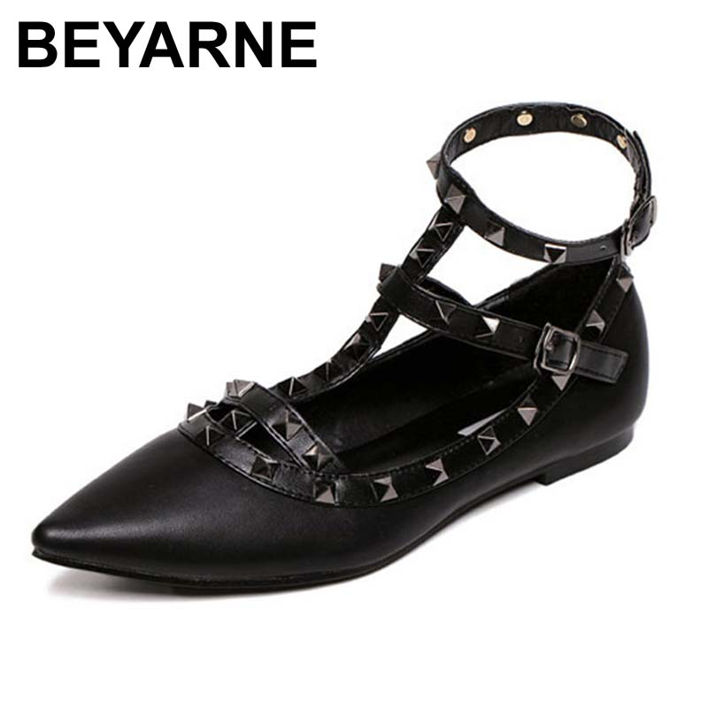 BEYARNE Fashion Rivet Flat Bottom Shoes Woman Pointed Toe Shoes Women Casual Slip On Valentine Flats Female Footwear Candy Color beyarne hot sale new fashion spring women flats shoes ladies bow pointed toe slip on flat women s shoes free shipping size34 40