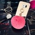 Девушка Зеркало для Макияжа Телефон Крышка Коке Капа Мех Кролика Мяч Pom Pom Case Cover For Samsung Galaxy S7 S7 Edge Кисточкой Кулон Case