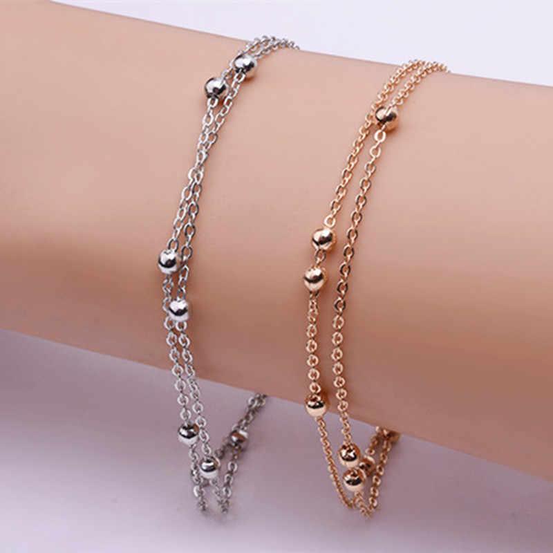 Summer Bracelets & Bangles Dainty Double-Layer Chain Link Bracelet Woman Beads Bracelet Jewelry Wedding Gift