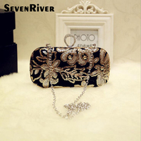 Women Clutch Bags Diamonds Finger Ring Ladies Vintage Evening Bags Wedding Bridal Handbags Purse Bags Holder