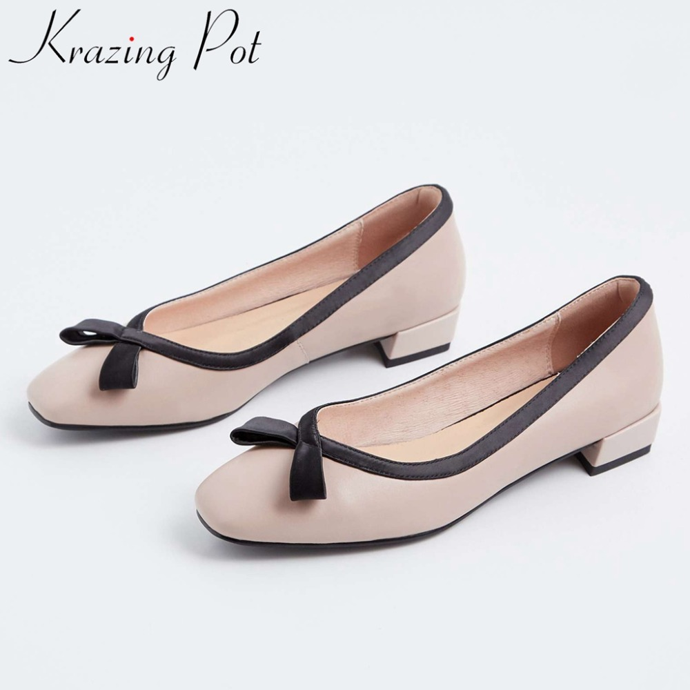 2019 Spring Autumn leisure shoes mixed colors classic square toe soft genuine leather low heels bowtie