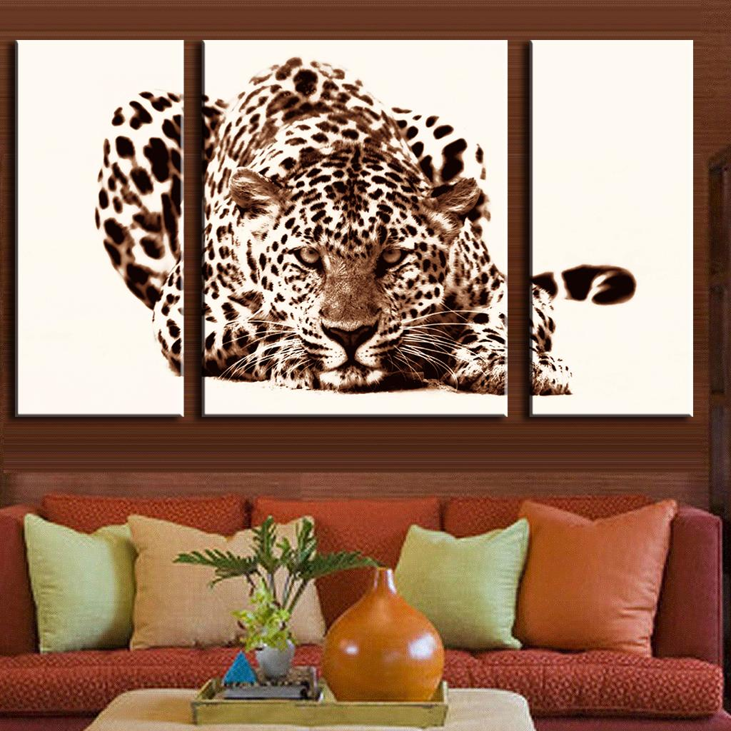 3 Pcsset Office Decoration Modern Animal Leopard Prints Painting On