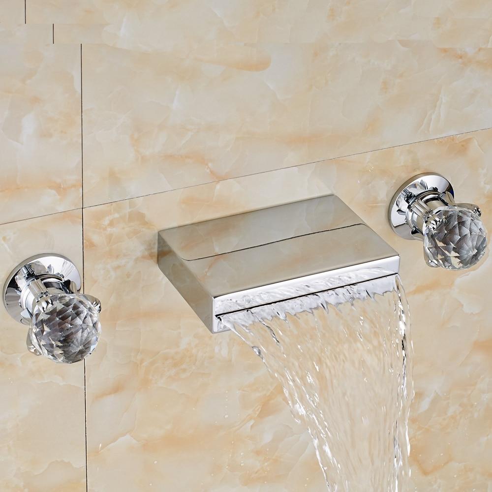 Фотография Chrome Waterfall Wall Mounted Bathroom Basin Faucet Dual Glass Handles Mixer Tap