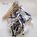 50 шт./лот темно-синяя и кремовая лента, Свадебная лента с кружевом, свадебные ленты, ленты, растяжки