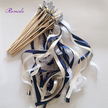 50pcs/lot navy blue and cream stain ribbon Wedding Ribbon Stick With lace ,Wedding Ribbon Wands ribbon Twirling Streamers фото