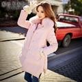 dabuwawa Jacket long 2016 women's new winter fashion zipper nice a-line long warm nature fox fur collar down coat pink doll