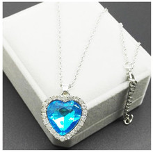 Titanic Ocean Heart Pendant Necklaces For Women Blue Crystal Rhinestone Silver Plated Metal Choker Necklace Jewelry(China)