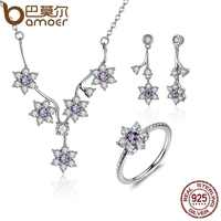 BAMOER 100 925 Sterling Silver Forget Me Not Purple Clear CZ Jewelry Sets Wedding Engagement Jewelry