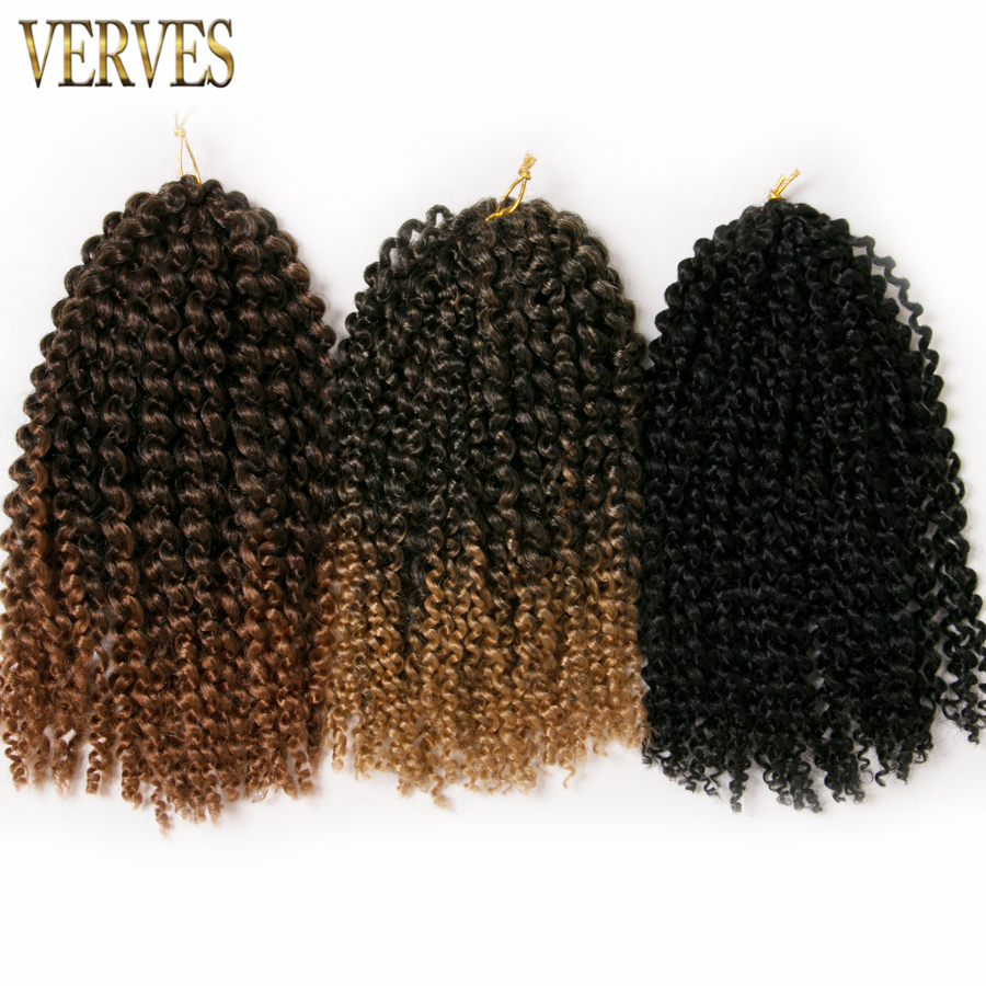 VERVES 10 pack 12 inch 60 g pack crochet braids hair Curly Marly Braid synthetic ombre
