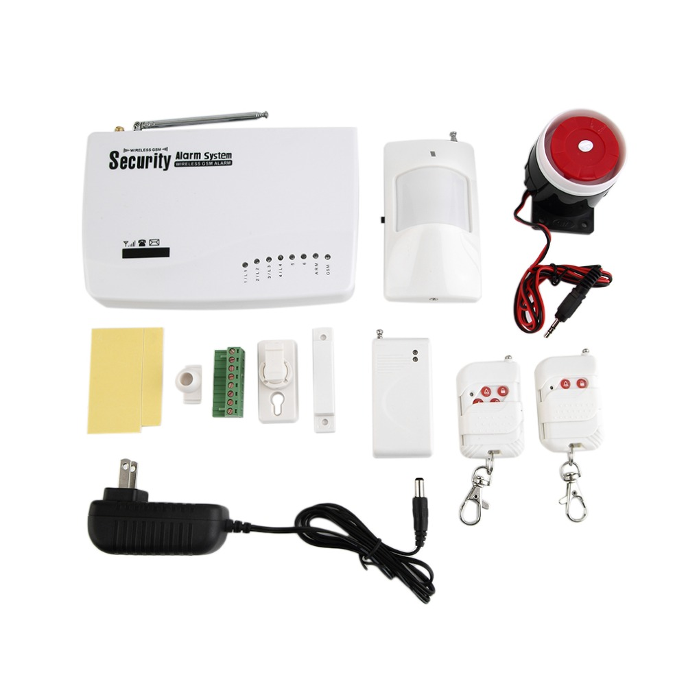 Wireless GSM Voice Home Security Burglar Alarm Detector Sensor Kit Auto Dialer SMS SIM Call Remote Control EU / US Plug gsm sms home burglar security gsm alarm system detector sensor kit remote control
