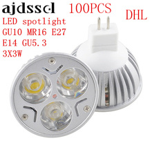 100PCS High Power Lampada LED spotlight E27 GU10 E14 GU53 led bulbs Dimmable 3X3W Led Lamp light MR16DC 12V AC110V 220V