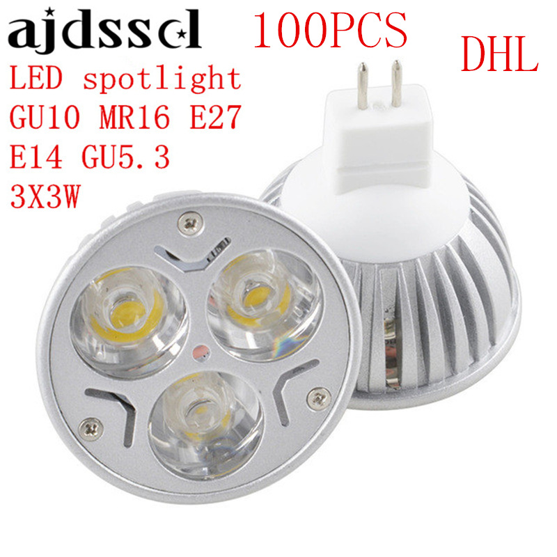 100PCS High Power Lampada LED spotlight E27 GU10 E14 GU53 led bulbs Dimmable 3X3W Led Lamp light MR16DC 12V Dimmable AC110V 220V