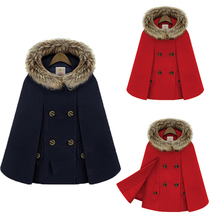 Autumn Winter Outerwear British Style Womens Botton Hooded Faux Fur Wool Cape Shawl Cloak Coat Poncho Batwing Sleeve Loose Coats(China)