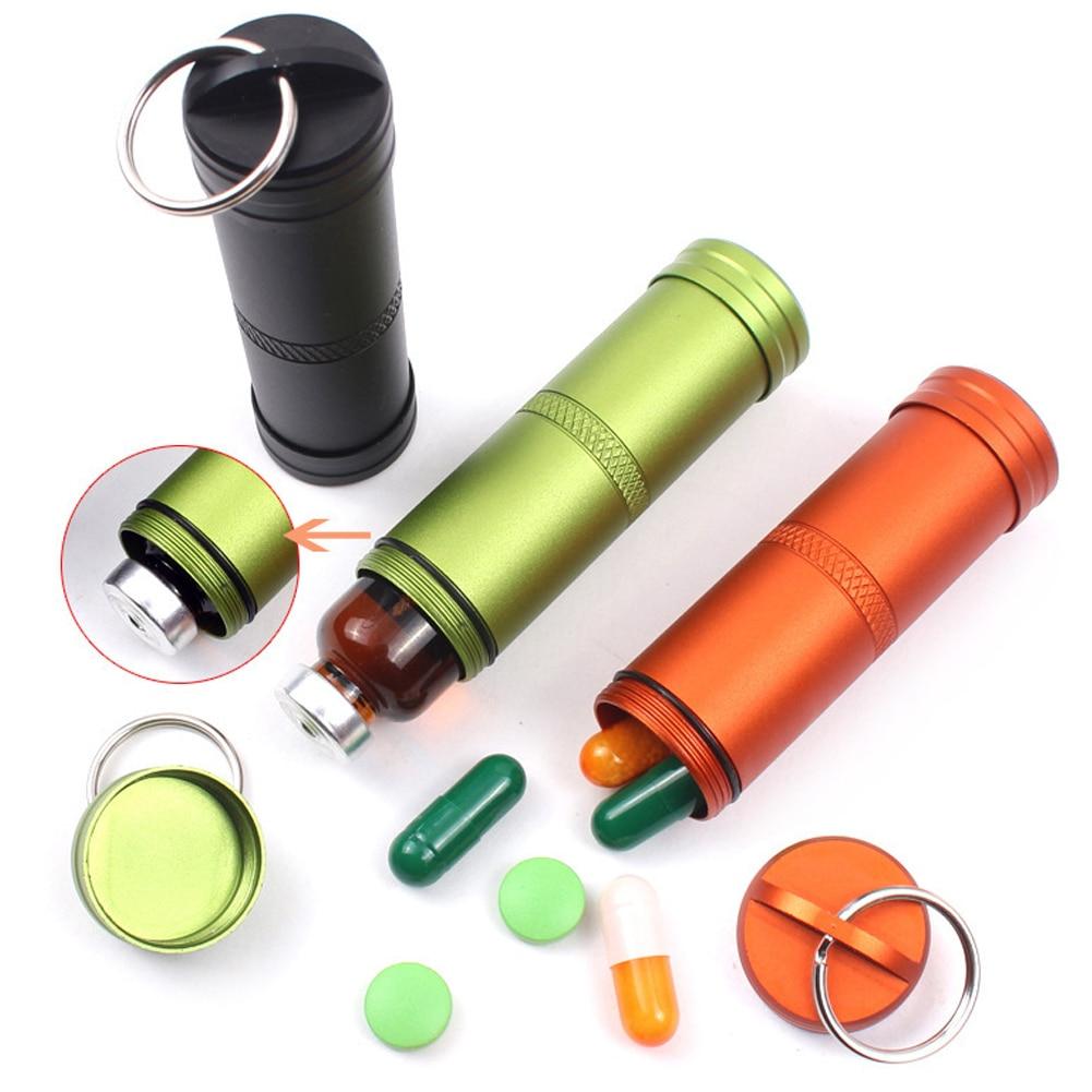 Portable Aluminium Alloy Tahan Air Pil Kotak Kontainer Obat Alat Pemotong Tablet Tempat Simpan Penyimpanan Case Outdoor Pertolongan Pertama Botol Dengan Gantungan Kunci
