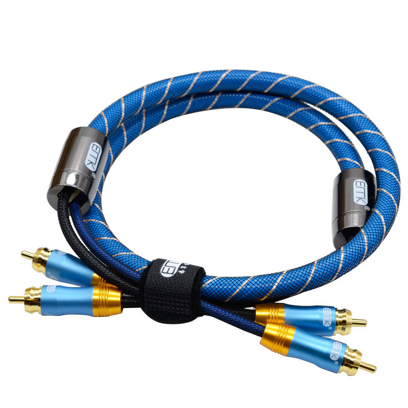 RCA Stereo Cable Cord Top Grade Dual 2 RCA Male to 2RCA Male Audio Cable,Digital & Analog,Double-Shielded,PRO Series)for(Amplifiers,AV Receivers,Hi-Fi) (2)