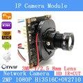 HD IP Camera Module 2.0MP IPC 1080P ONVIF P2P 1 / 2.7 HI3516C+OV2710 Night vision Network Surveillance 3MP 8mm Lens+ POE Cable