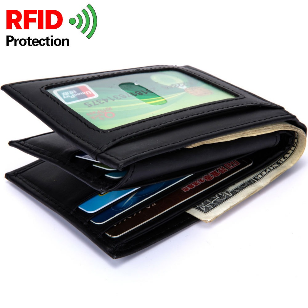 RFID BLOCKING Genuine Cow Leather Men Wallets High Quality Trifold Design Small Men Purse Wallet Male Card ID Holder Coin Pocket
