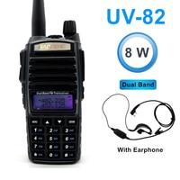 8W Dual Band Walkie Talkie 10km Baofeng UV 82 FM Transceiver Portable CB Ham Radio 128CH VHF/UHF UV 82 Two way Radio 2800mAh