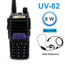 Высокая 8 Вт Двухдиапазонная рация Baofeng UV-82 FM трансивер 10 км портативный любительский радиопередатчик 128CH Ham Радио/UHF UV 82 двухстороннее радио