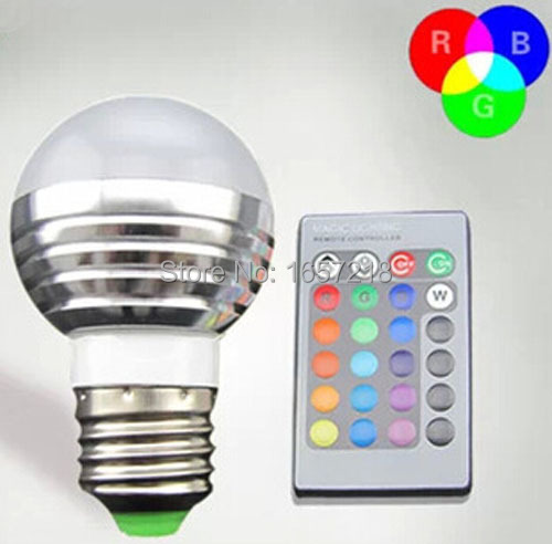 2015 NEW E27/ GU10/E14/E27/E26/MR16/B22/GU5.33W RGB LED Light Bulb + 24key Remote Controller Magic Lighting 16 Colors change #p