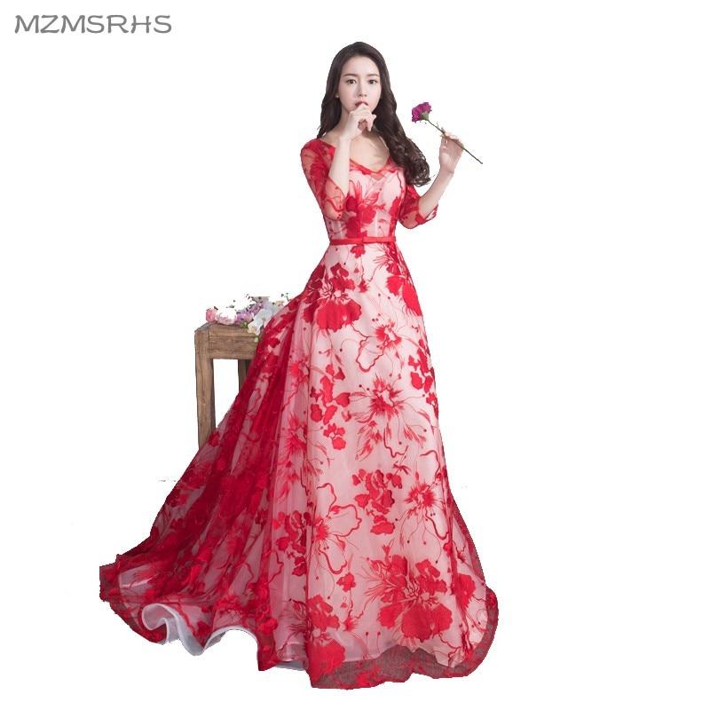 Vestidos de fiesta largos de encaje rojo de lujo MZMSRHS 2018 Vestido - Vestidos para ocasiones especiales - foto 1