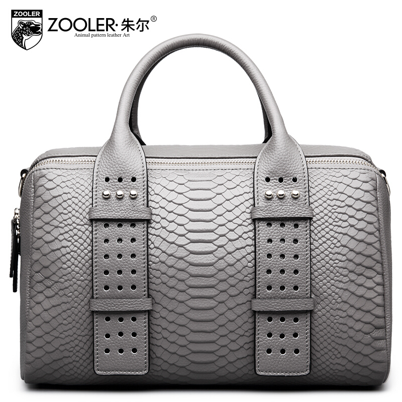Women bag 2017 New zooler genuine leather bag brands fashion quality cowhide women handbags shoulder messenger boston bag