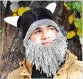 Бородатый Мужчина Ручной Шерсти Вязание Забавный Осень Зима Шляпы Шапки Крючком Рыцарь Усы Skully Мужчины Женщины Подарок 1101