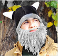 bearded Man Handmade Knitting Wool Funny Autumn Winter Hats Caps Crochet Knight Whiskers Skully For Men Women Gift 1101