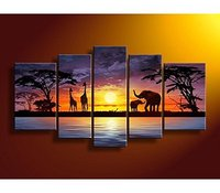 100% Hand Painted Oil Paintings Gift African Giraffe Elephant Landscape 5 Panels Wall Decoration large canvas art cuadros decor