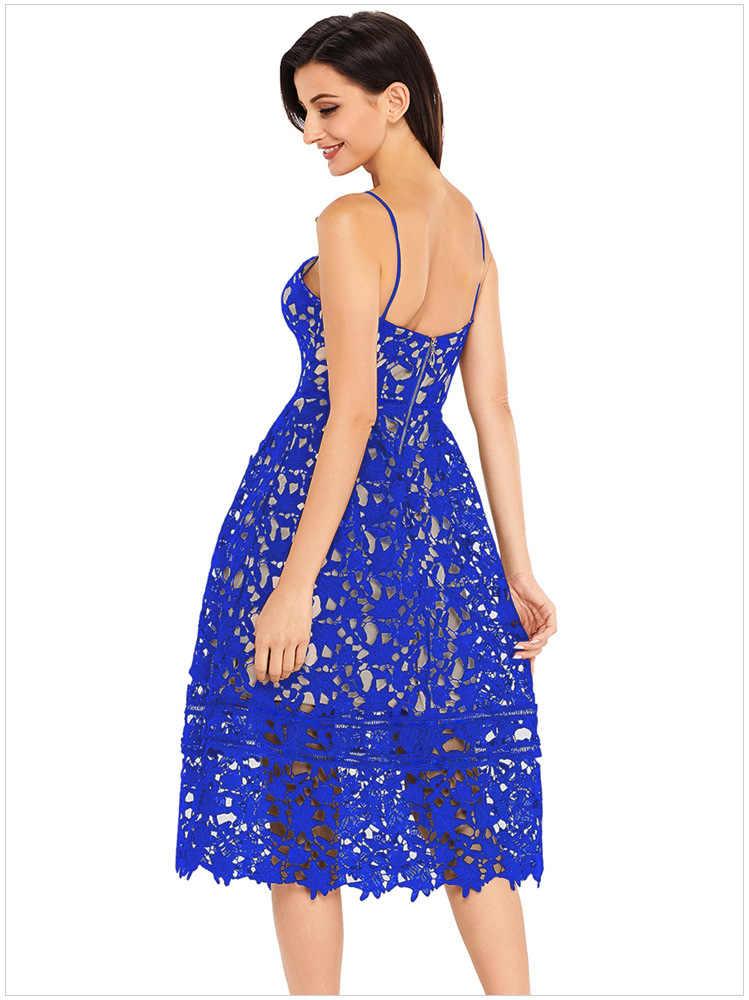 Echoine Weiß/Blau/Rot Spitze Aushöhlen Nude Illusion Party Kleid Sexy Spaghetti Strap Backless Aushöhlen Party kleider Vestidos
