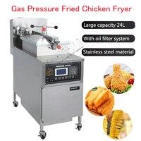 24L газа Давление жареная курица Фрайер коммерческих Давление Фрайер цифровой ЖК дисплей KFC курица масле машина с колесами PFG 600