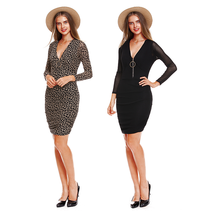 4be550d747 MUMUZI Brand Women Sexy V neck with front zipper dresses leopard print knee  length dresses long sleeve knitted women clothing-in Dresses from Women s  ...
