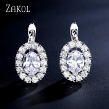 ZAKOL New Arrivals Fashion Oval Cubic Zirconia Crystal Hoop Earrings for Women Bridal Bridesmaid Wedding Gift Jewelry FSEP2275 beautiful hoop oval earrings pave grey pearl and aaa cubic zirconia crystal high quality fashion jewelry for women