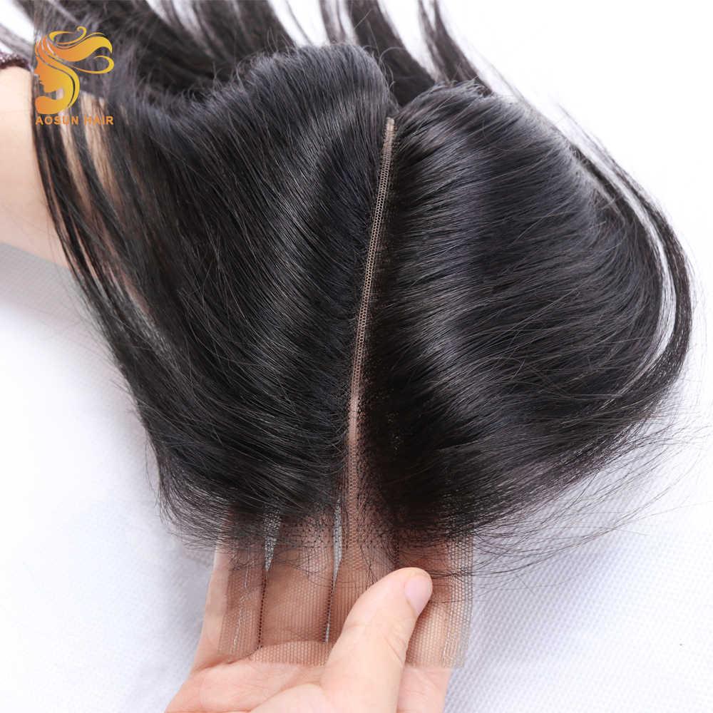 AOSUN волосы бразильские прямые Remy человеческие волосы Кружева Закрытие светло-коричневый Ким К Закрытие 2X6 средняя часть натуральный цвет для женщин