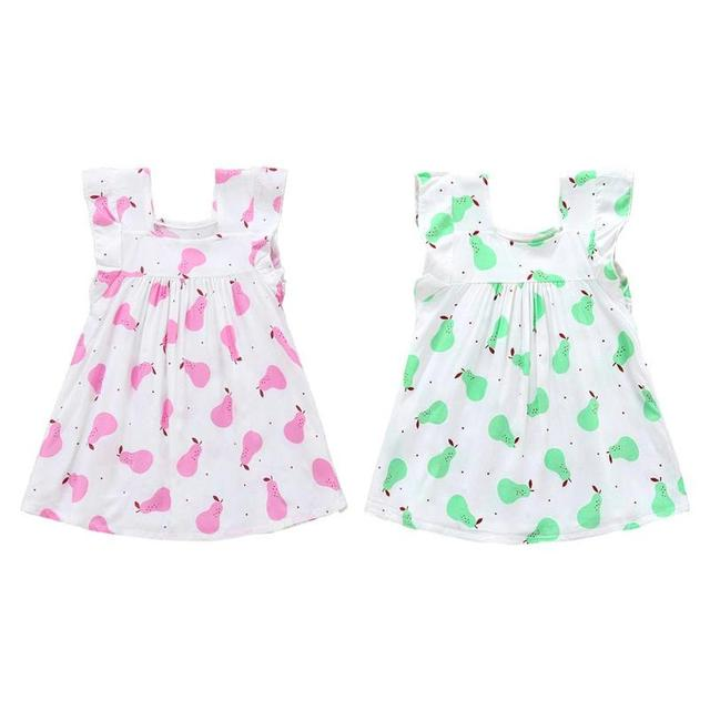 372f3cc0940d3 Baby Girls Summer Dress Sweet Fashion Simple Girls Clothing Children Kids  Print Fruit Pear Sleeveless Dress Pink Green Dress New