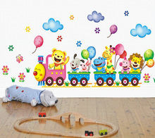 Cartoon Animal Train Wall Stickers For Kids Rooms Decal Mural Poster Art boys Bedroom Home Decor 25*43cm
