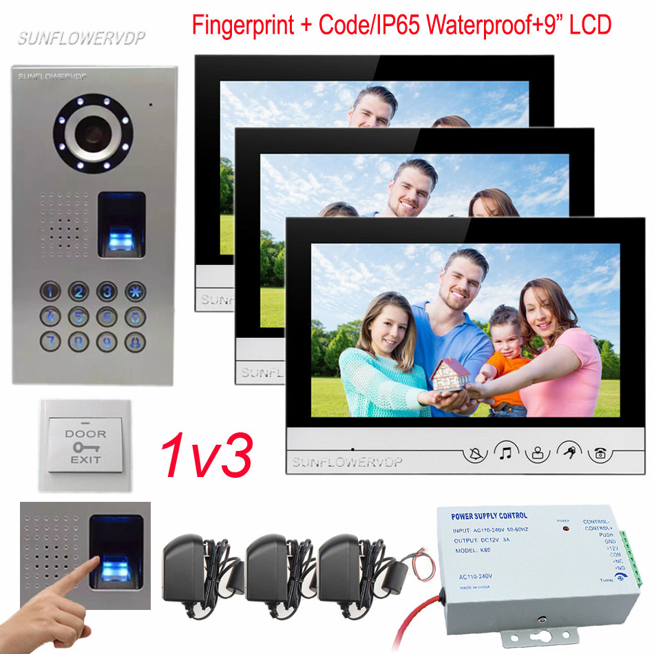 IP65 Waterproof Fingerprint Code Unlock Doorphones For A Private House 3 Monitors 9 Color Screen Door Bell Camera Home Security color ring inductance 0307 3 9uh a03073r9 color code 20